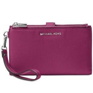Michael kors garnet color double zip wallet